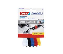 tesa® On & Off Cırt Bant Kablo Toplayıcı,12mm:20cm, 5 farklı renk, beyaz;siyah;mavi;kırmızı;sarı