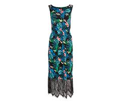 Tül Detaylı Desenli Maxi Elbise, XL