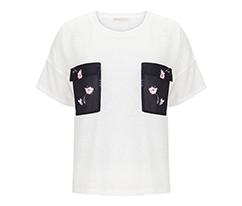 Baskılı Cepli Tişört