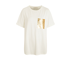 Kırık Beyaz Payet Cepli Tişört