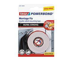 tesa® Powerbond® Ultra Güçlü Çift Taraflı Montaj Bandı, 1.5m:19mm