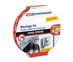 tesa® Powerbond® Ultra Güçlü Çift Taraflı Montaj Bandı, 5m:19mm