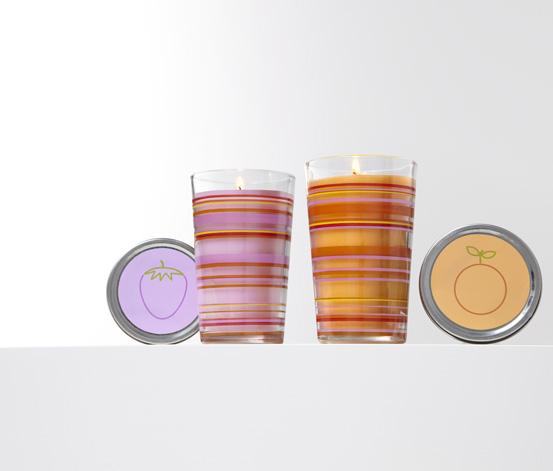2 Duftkerzen im Glas, Erdbeere und Orange