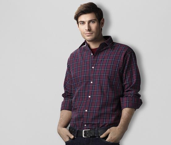 Koszula, bordowa w kratkę