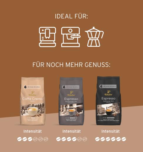 Genießen Sie eine ganz besondere Auswahl an Kaffeespezialitäten für Ihren Vollautomaten: sorgsam zusammengestellt aus sonnenverwöhnten Kafeebohnen, geerntet in den besten Anbaugebeten der Welt.  Sortenrein geröstet von unseren erfahrenen Röstmeistern – und mit viel Fingerspitzengefühl komponiert.  Das ist der unvergleichliche Tchibo Geschmack: vom milden Caffè Crema bis zum kräftigen Espresso.