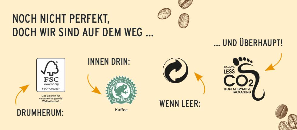 """Unsere Cold Brew Coffees sind nicht nur lecker, sondern auch zu 100% aus natürlichen Zutaten!  Die Sorte """"Cassis Flavoured"""" ist vegan, die Milch der Sorte """"Salted Caramel Latte"""" stammt von Bergbauern. Unsere Arabica-Bohnen kommen von Rainforest Alliance zertifizierten Farmen. Das heißt: Der Kaffee wurde auf ökologisch und sozial verträgliche Weise angebaut und geerntet.  Auch die Verpackung überzeugt, denn die Cartocans bestehen zu über 60% aus nachwachsenden Rohstoffen."""