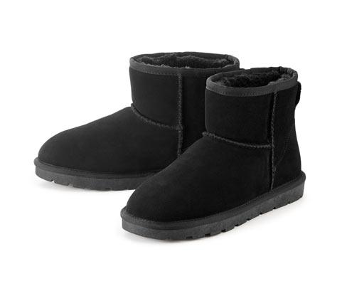 Buty ze skóry welurowej na podszewce z wełny