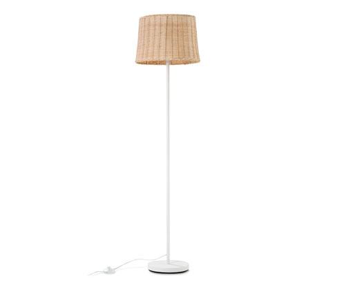 Dekoracyjna lampa stojąca z plecionki wiklinowej