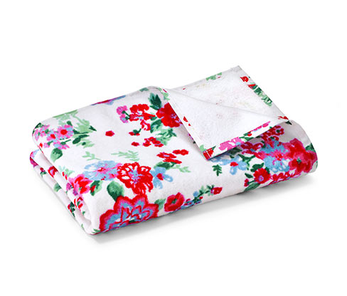 Velúr fürdőlepedő, fehér-virágos
