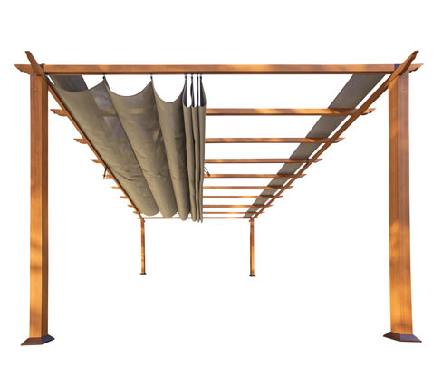 Paragon-Aluminium-Pergola in Holzoptik, mit verstellbarem Sonnensegel, ca. 350 x 350 cm