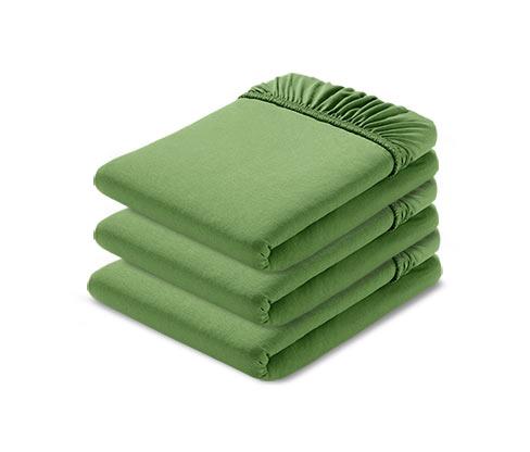 Organik Pamuklu Lastikli Jersey Çarşaf, 90x190 - 100x200 cm, Yeşil