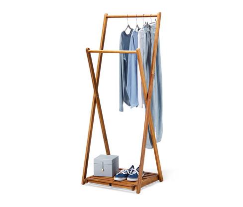 Składany wieszak na ubrania z litego drewna