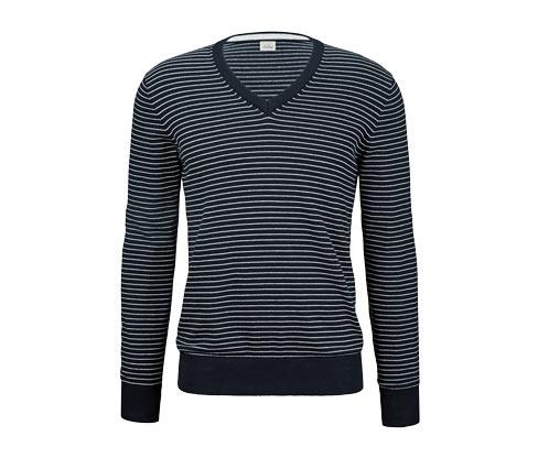 Férfi pulóver, sötétkék-fehér