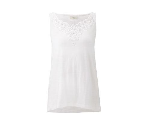 Beyaz Organik Pamuklu Işlemeli Bluz