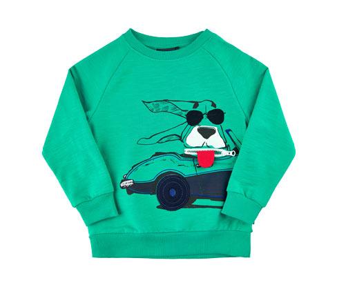 Kisfiú pulóver, zöld, autós