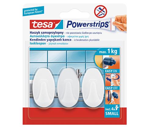 tesa Powerstrips Askı Küçük Oval Kendinden Yapışkanlı, Çıkarılabilir, Beyaz