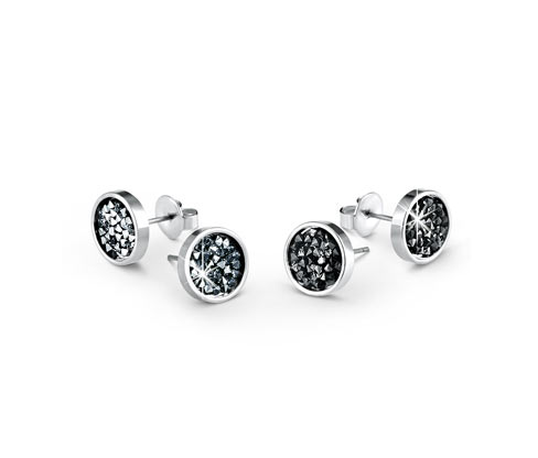 2 pár női fülbevaló szettben, Swarovski kristályok