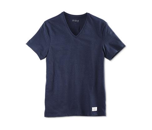 Férfi póló, V-nyakú, kék