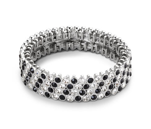 Női karkötő, fekete/ezüst üvegkövekkel