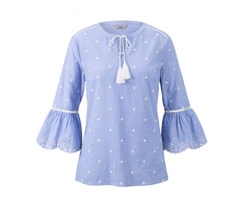 Bawełniana bluzka damska z falbanami i ażurowym haftem
