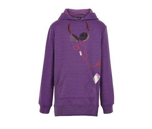 Lány hosszú kapucnis pulóver, lila