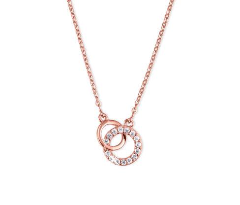 Collier en argent plaqué or rose, anneaux avec des zircones