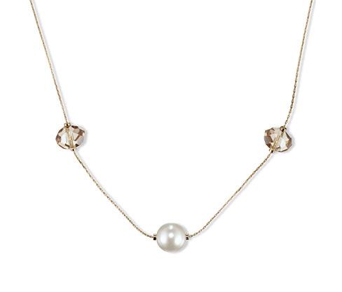 Long collier avec pierres de verre, doré
