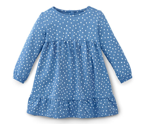Niebieska sukienka dziewczęca w kropki z dżerseju