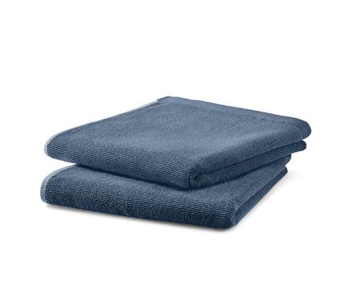 Niebiesko-szare ręczniki bawełniane z tkaniny frotté, 2 sztuki