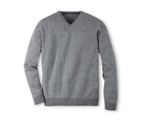 Tenký pletený pulovr, šedý s melírem