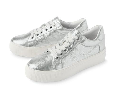 Damskie sneakersy skórzane, na platformie