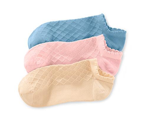 Dámske krátke ponožky, 3 páry, ružové, béžové a modré