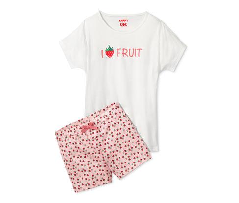 Lány rövidnadrágos pizsama, epres