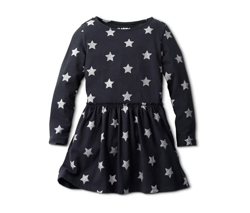Lányka jerseyruha, sötétkék, csillagos