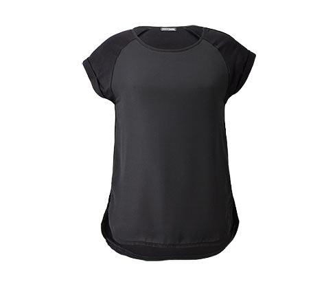 Shirt mit Webeinsatz, schwarz