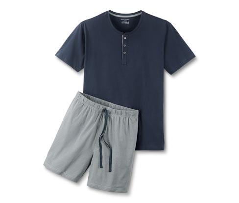 Bawełniana piżama męska z koszulką w paski i spodenkami