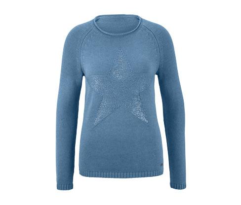Női kötött pulóver, mintás, kék