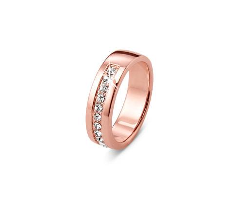 Pierścionek pozłacany złotem różowym, wysadzany kryształami marki Swarovski®