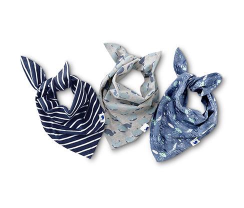 3 tissus triangulaires bleus