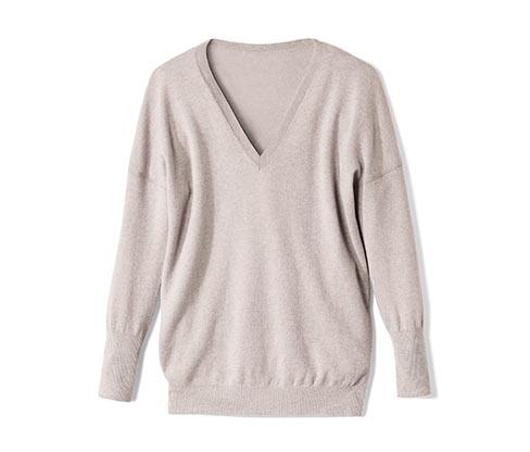 Jemně pletený pulovr, béžový