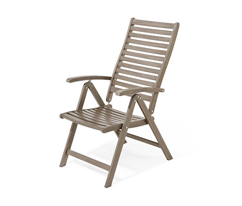 Magastámlás kerti szék, szürke, akác