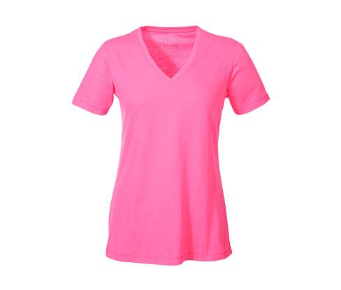 Női V-nyakú póló, neon rózsaszín