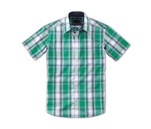 Košile s krátkým rukávem, zelená s kostkou