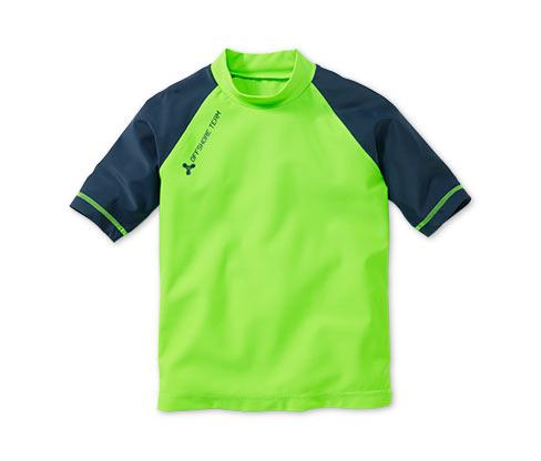 Koszulka z ochroną przed działaniem promieni UV, zielono-ciemnoniebieska