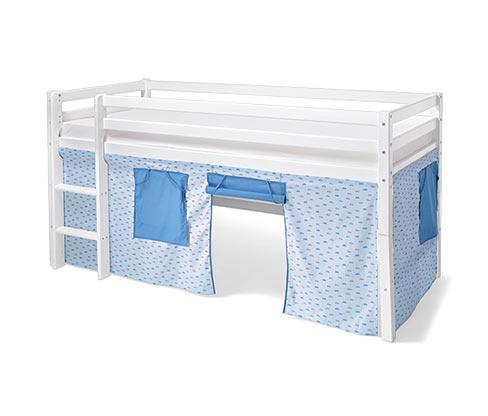 Sada závěsů na vysokou postel, modrá