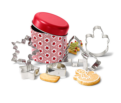 Zestaw foremek do wycinania ciastek, z puszką