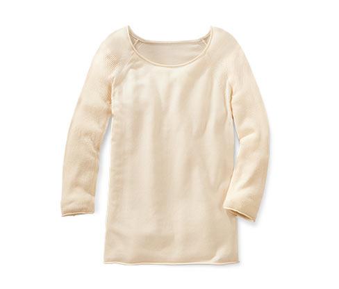 Tenký pletený pulovr, krémový