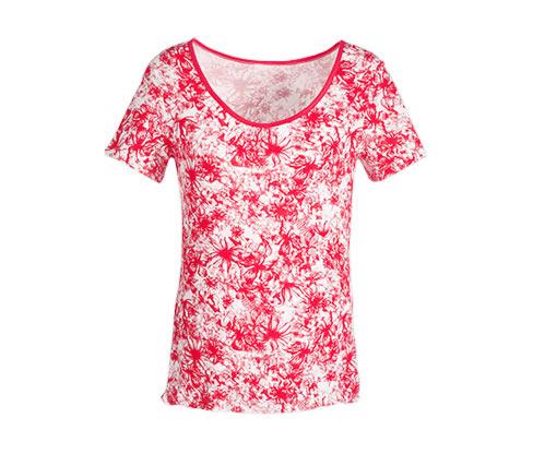 Koszulka z wiskozy, koralowa ze wzorem na całej powierzchni