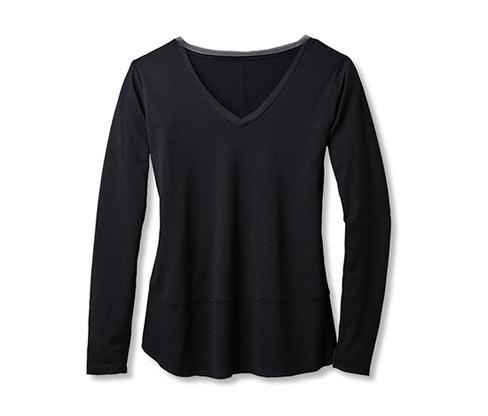 Tričko s výstřihem do V, černé