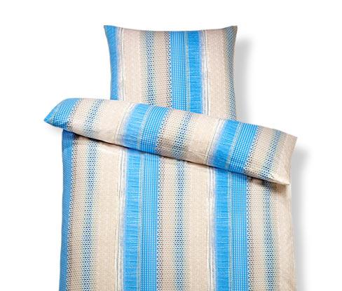 Jersey-Bettwäsche, Normalgrösse, blau gestreift